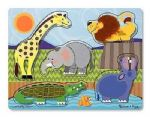 CHILDRENS CHILD MELISSA AND DOUG WOODEN TOUCH AND FEEL ZOO ANIMALS PUZZLE